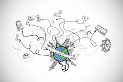 Composite image of business and global travel doodles Stock Image