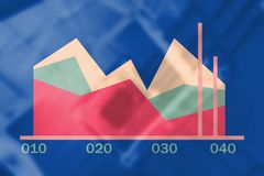 Composite image of business graph and chart. Business graph and chart against staircase in office building Stock Photo