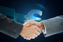 Composite image of business handshake against euro sign. On technical background stock photo