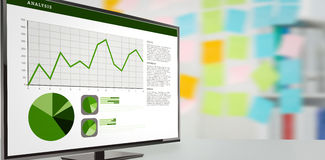 Composite image of business interface with graphs and data. Business interface with graphs and data against closeup of colorful sticky notes at office Stock Photo