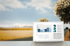 Composite image of business interface with graphs and data Stock Photo