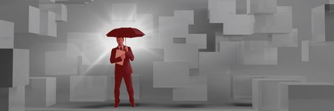 Composite image of business man holding files and umbrella with grey boxes background. Digital composite of Composite image of business man holding files and royalty free illustration