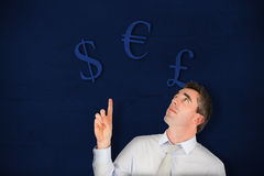 Composite image of business manager pointing Stock Photo