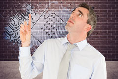 Composite image of business manager pointing Royalty Free Stock Images