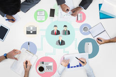 Composite image of business meeting. Business meeting against business apps Stock Photo
