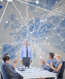 Composite image of business people applauding during meeting Royalty Free Stock Photography