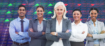 Composite image of business people with arms crossed smiling at camera. Business people with arms crossed smiling at camera  against stocks and shares Stock Image