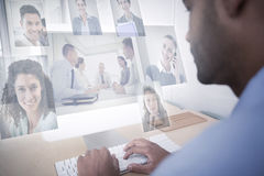 Composite image of business people having a meeting Royalty Free Stock Photos