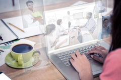 Composite image of business people having a meeting stock photos