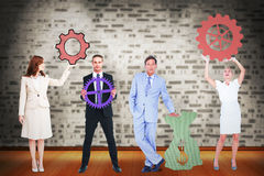 Composite image of business people with icons graphics Royalty Free Stock Photos
