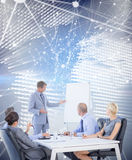 Composite image of business people listening during meeting Royalty Free Stock Photography