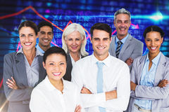Composite image of business people looking at camera with arms crossed Stock Photography