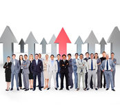 Composite image of business people standing up royalty free stock photo
