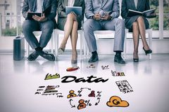Composite image of business people waiting to be called into interview. Business people waiting to be called into interview against data text among various icons Stock Photos