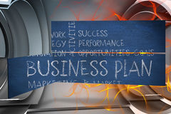 Composite image of business plan on abstract screen Royalty Free Stock Photography