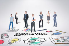 Composite image of business team. Business team against branding doodle royalty free stock photos