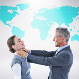 Composite image of business team fighting Stock Photography