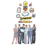 Composite image of business team looking at camera Stock Photography