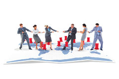Composite image of business team pulling the rope Royalty Free Stock Image