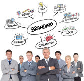Composite image of business team standing arms crossed. Business team standing arms crossed against branding doodle stock photo