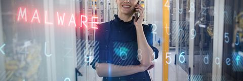 Composite image of business woman phoning Royalty Free Stock Photos