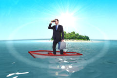Composite image of businessman in boat with binoculars Stock Photos