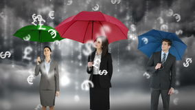 Composite image of businessman and businesswoman holding an umbrella vector illustration