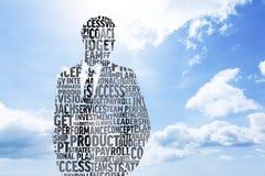 Composite image of businessman in buzzwords. Businessman in buzzwords against blue sky stock image