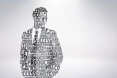 Composite image of businessman in buzzwords. Businessman in buzzwords against grey background vector illustration