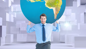 Composite image of businessman carrying the world Royalty Free Stock Images