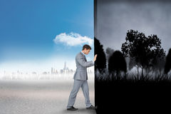 Composite image of businessman changing scenes Royalty Free Stock Images