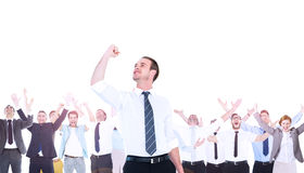 Composite image of businessman cheering with clenched fist Royalty Free Stock Photo