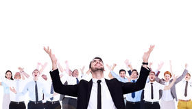 Composite image of businessman cheering with hands raised Royalty Free Stock Photography