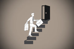 Composite image of businessman climbing the stairs to door Royalty Free Stock Photo