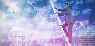 Composite image of businessman climbing up ladder. Businessman climbing up ladder against stocks and shares Stock Image