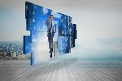 Composite image of businessman in data center on abstract screen Stock Photo