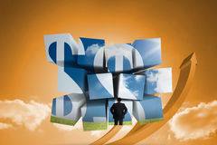 Composite image of businessman and dollar signs on abstract screen Stock Photos