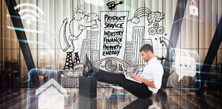 Composite image of businessman with feet up on briefcase Stock Photos