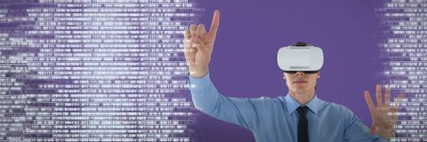 Composite image of businessman gesturing while wearing futuristic glasses. Businessman gesturing while wearing futuristic glasses against binary code Royalty Free Stock Photo