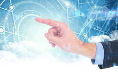 Composite image of businessman hand pointing something Royalty Free Stock Image