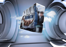 Composite image of businessman holding coach text on abstract screen Stock Image