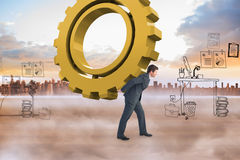 Composite image of businessman leaning over Royalty Free Stock Images