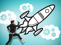 Composite image of businessman leaping Stock Photography