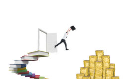 Composite image of businessman leaping with his briefcase Royalty Free Stock Images