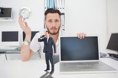 Composite image of businessman looking through binoculars Stock Photo