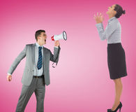 Composite image of businessman with megaphone Stock Image