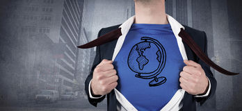 Composite image of businessman opening his shirt superhero style Royalty Free Stock Image
