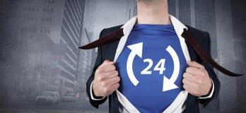 Composite image of businessman opening his shirt superhero style Stock Photo