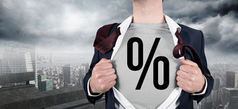 Composite image of businessman opening shirt in superhero style Stock Images