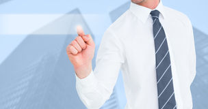 Composite image of businessman pointing with his finger royalty free stock image